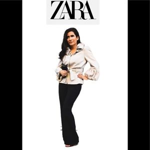 Zara belted jacket with ruffled collar size M
